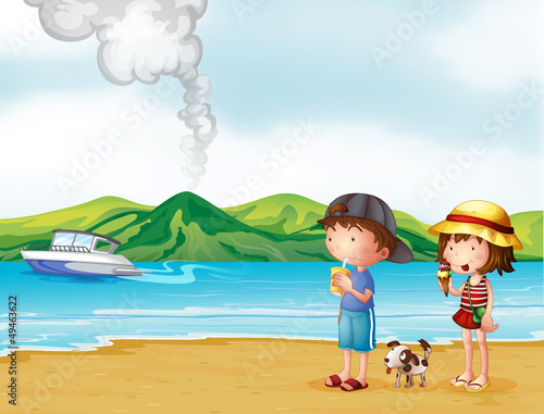 Printed kitchen splashbacks Dogs A young girl and a young boy strolling at the beach