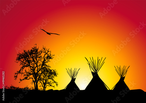Poster Indiens tepee al tramonto