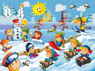 Obraz na płótnie Canvas The winter fun kids - illustration for the children