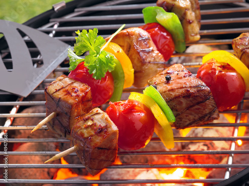 Aluminium Prints Grill / Barbecue Barbeque with kebabs