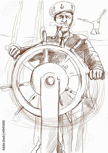 Fotografía  sea captain - hand drawing
