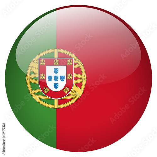 Fotografie, Obraz  Portugal flag button