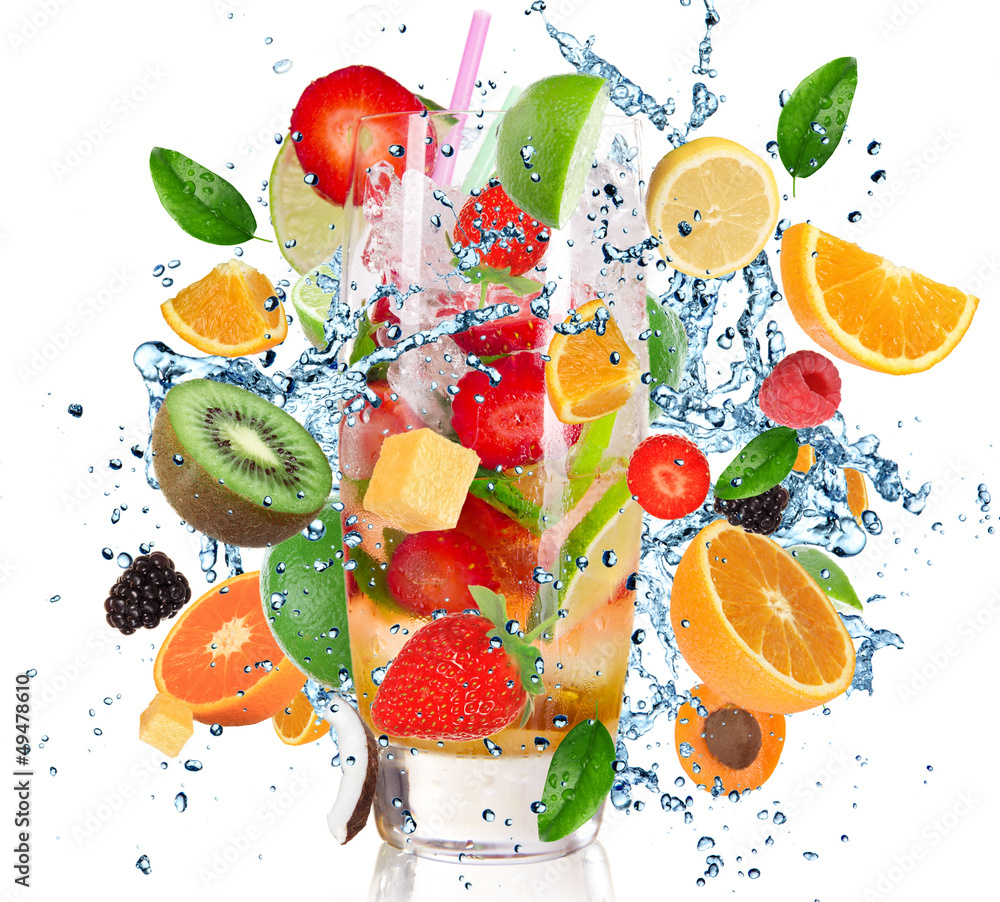 Fototapety, obrazy: Fruit Cocktail with splashing liquid isolated on white