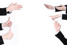 Viele Hände Deuten Auf Ihren ...