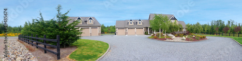 Large farm country house with gravel driveway Canvas Print