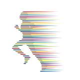 Logo man runs in the wind # Vector