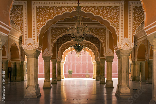 Tuinposter India royal interior in Jaipur palace, India