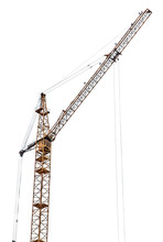Yellow Tower Crane Isolated On White