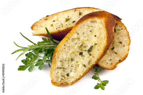 Garlic Bread with Herbs Isolated