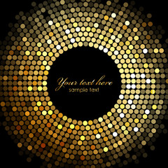 Fototapeta Vector gold disco lights frame