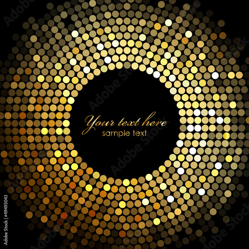 Fotografia  Vector gold disco lights frame