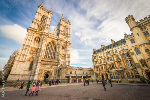 Spoed Fotobehang Londen sunset over westminster abbey in central london