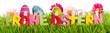 Leinwanddruck Bild - Frohe Ostern Text mit Wiese Banner