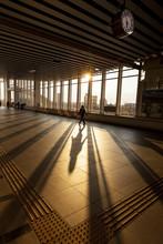 Silhouette Of Passenger In Modern Train Station