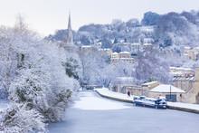 Frozen Canal, Bath, Uk