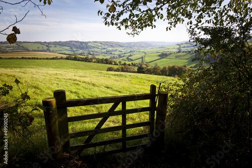 Foto auf Gartenposter Landschappen Gate onto Rolling British Countryside