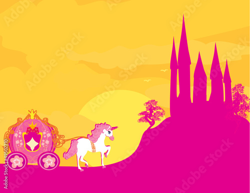 Spoed Foto op Canvas Roze Carriage at sunset. Silhouette of a horse carriage and a mediev