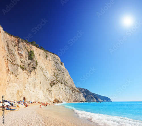 Foto-Schiebegardine Komplettsystem - A view of a Porto Katsiki beach on a clear sunny day