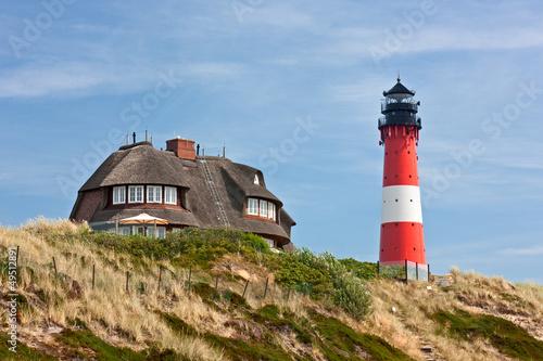 Spoed Foto op Canvas Noordzee Leuchtturm Hörnum auf Sylt an der Nordsee