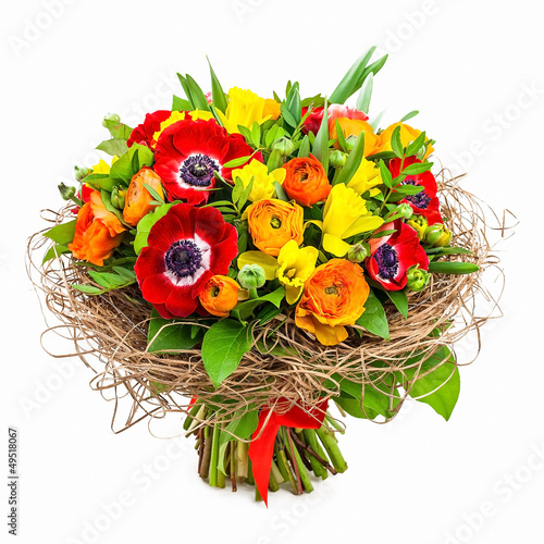 Fotografie, Obraz  bouquet of flowers in vase isolated on white