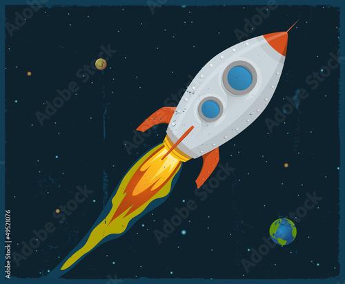 Foto op Canvas Kosmos Rocket Ship Blasting Through Space