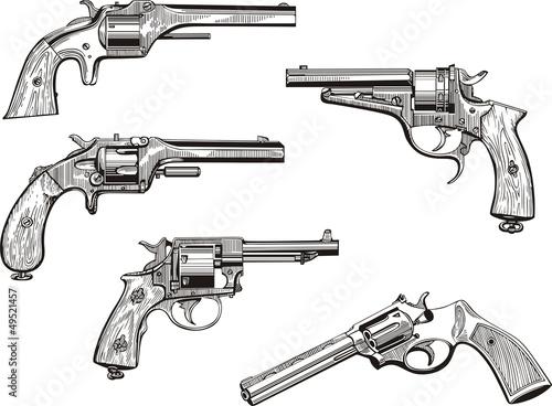 Obraz na plátně Set of old revolvers