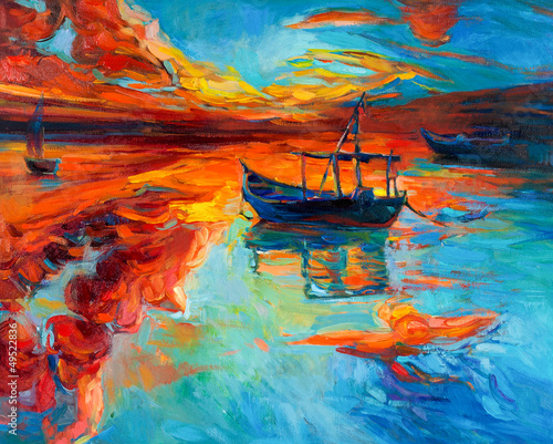 Spoed Fotobehang Oranje eclat Boats