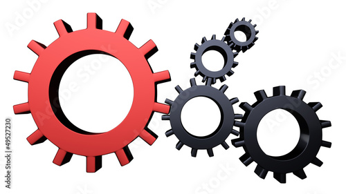 3D Gear...The mechanism... Isolated on white background Wallpaper Mural