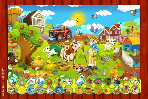 Photo sur Toile Ferme The page with exercises for kids - farm finding