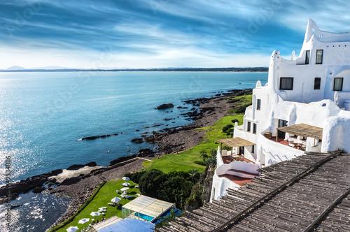 Photo sur Toile Bleu jean Casapueblo Punta del Este Beach Uruguay
