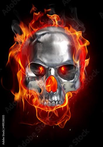 Poster Flamme Metallic skull on fire