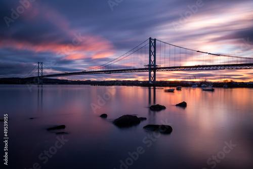 Fotobehang Brug Forth road bridge sunset