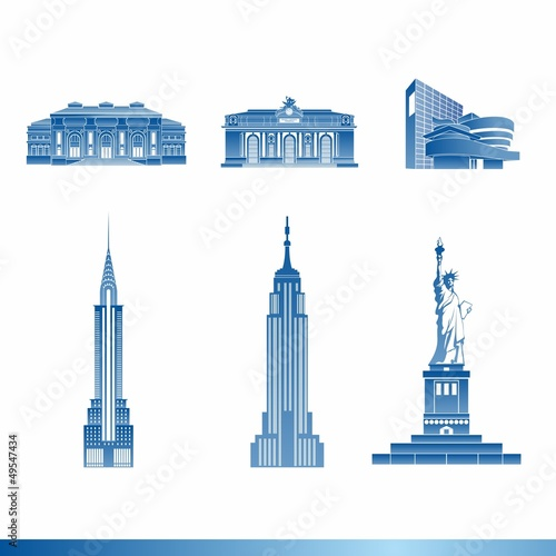 Fotografie, Obraz  Famous buildings of the United States (New York)