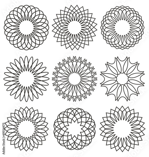 Photo Set of rosettes, ornaments and decorative lines
