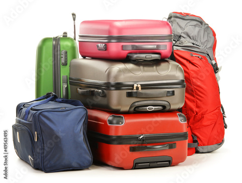 Fotografiet Luggage consisting of large suitcases rucksack and travel bag