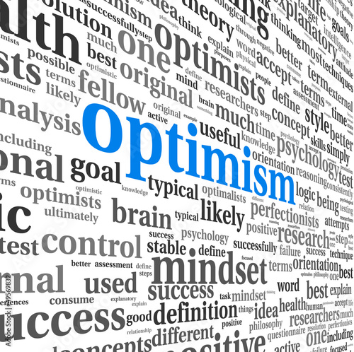 Fotografia  Optimism concept in word tag cloud isolated