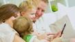 Caucasian Parents Children Wireless Tablet
