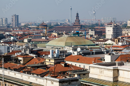 Poster Artistique Aerial View on Milan from the Roof of Cathedral, Italy