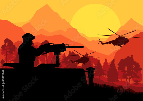 Poster Militaire Army soldier with helicopters, guns and transportation in wild d