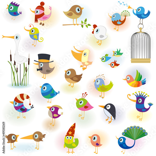Deurstickers Vogels in kooien Big Cartoon Bird Set