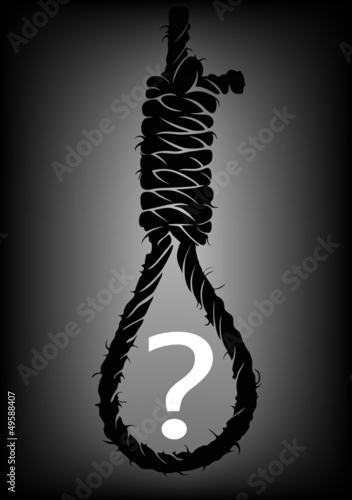 Fotografie, Obraz  Old rope with hangman's noose with question