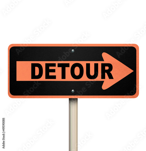 Fotografie, Obraz  Detour Road Sign - Isolated