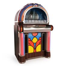 Retro Vintage Jukebox On A Whi...