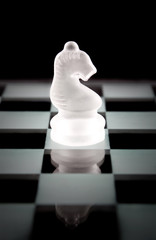 Knight chess piece over black background