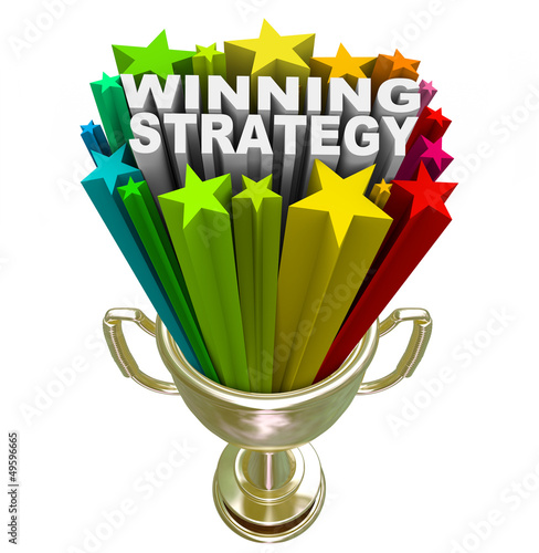 Winning Strategy Gold Trophy Words Winner Plan Tablou Canvas