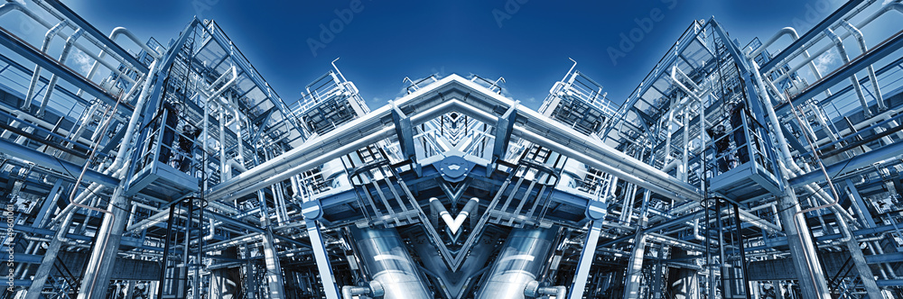Fototapety, obrazy: oil and gas refinery, blue toning illumination, panoramic