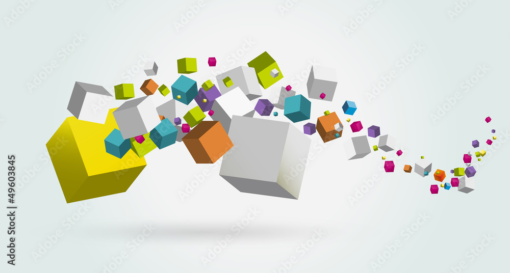 Fototapeta cubes abstrait