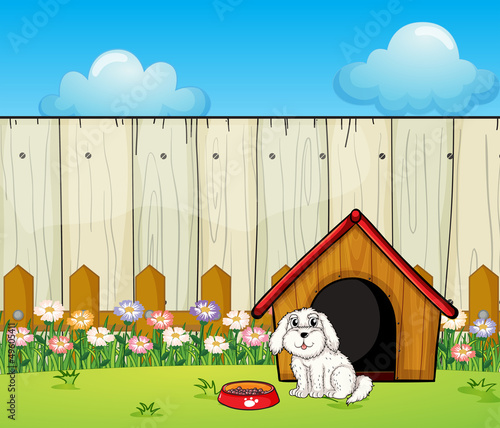 Tuinposter Honden A dog and the dog house inside the fence