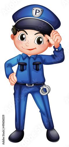 Foto op Aluminium Pixel A policeman with a complete uniform