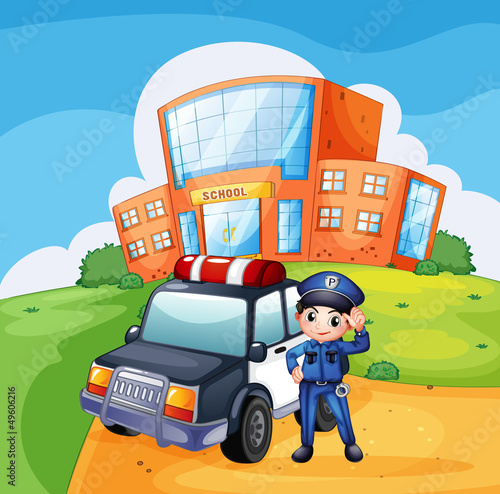 Keuken foto achterwand Cars A patrol car and the policeman near the school